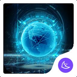Blue Neon Future Tech -- APUS launcher theme
