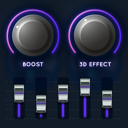 Volume Booster, Equalizer, 3D, Bass Booster, Radio