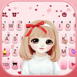 Pretty Bowknot Girl Keyboard Theme