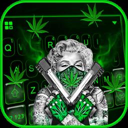 Gun Weed Cool Lady Keyboard