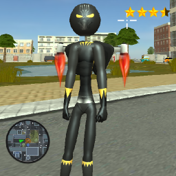 Stickman Panther jetpack Crime Simulator
