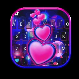Pink Glow Hearts Keyboard Theme