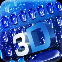 Blue 3d Water Drop Keyboard Theme