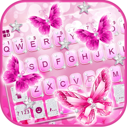 Pink Crystal Butterfly Keyboard Theme