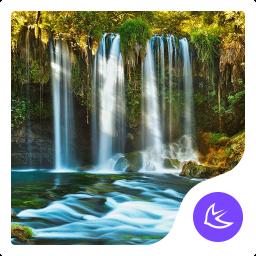 waterfall nature scene -APUS Launcher theme