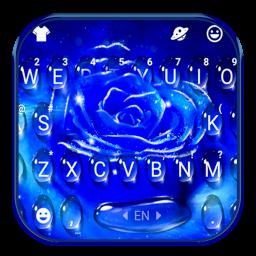 Silver Blue Rose Keyboard Theme