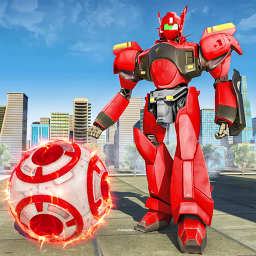 Futuristic Robot Flying Ball Battle