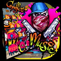 Graffiti Gun Mask Skull Keyboard Theme