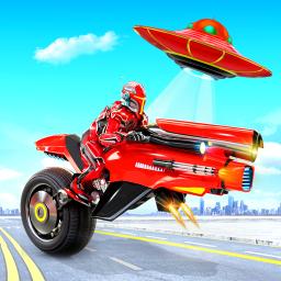 Flying Moto Robot Hero Hover Bike Robot Game