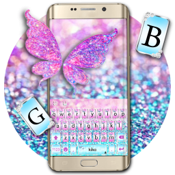 Pink Sparkle Butterfly Keyboard Theme