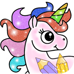 Glitter Unicorn Coloring Book - Rainbow Drawing
