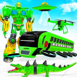 School Bus Robot Car Game