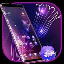 Abstract Neon Shiny Purple Flower stylish Theme