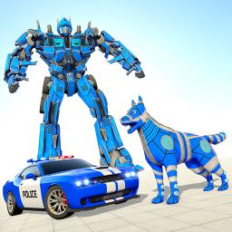 Police Dog Robot Car Transform - Car Robot Games