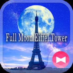 Beautiful Wallpaper Full Moon Eiffel Tower Theme