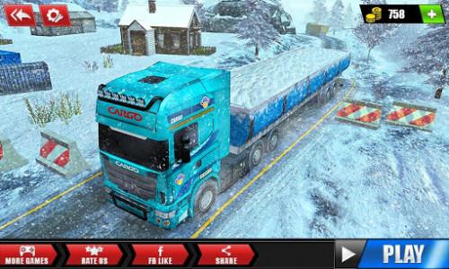 اسکرین شات بازی Offroad Snow Trailer Truck Driving Game 2020 1