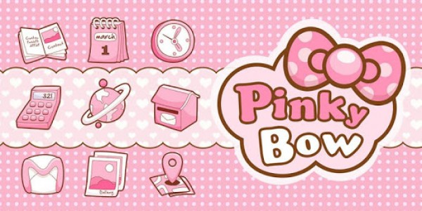 اسکرین شات برنامه Pinky Bow GO Launcher Theme 2