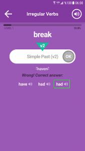 اسکرین شات برنامه English Irregular Verbs 3