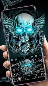 اسکرین شات برنامه Neon Skull Wing Keyboard Theme 1