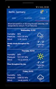 اسکرین شات برنامه Weekly Weather Forecast 5