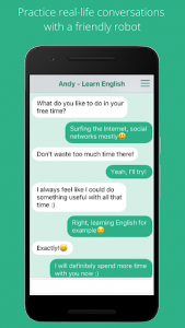 اسکرین شات برنامه Andy - English Speaking Bot 1