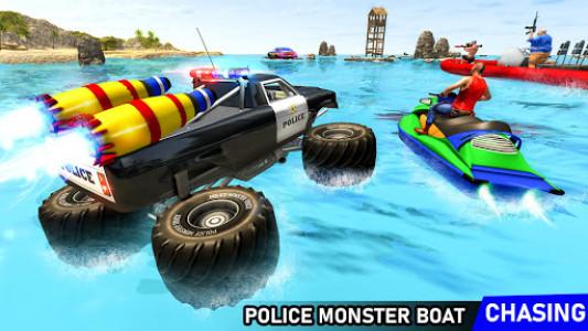 اسکرین شات برنامه Police 6x6 Monster Truck Water Surfing Chase Games 1