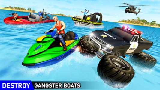 اسکرین شات برنامه Police 6x6 Monster Truck Water Surfing Chase Games 2